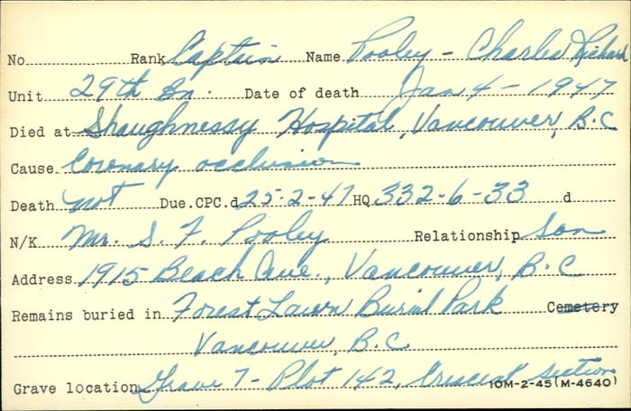 Title: Veterans Death Cards: First World War - Mikan Number: 46114 - Microform: pooley_charles