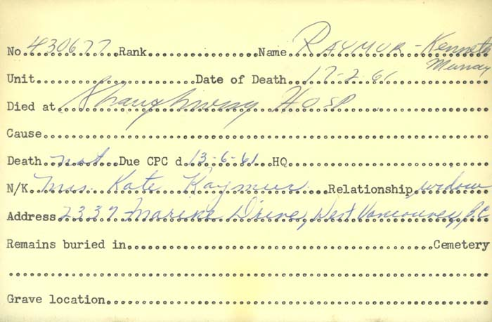 Title: Veterans Death Cards: First World War - Mikan Number: 46114 - Microform: raymur_kenneth