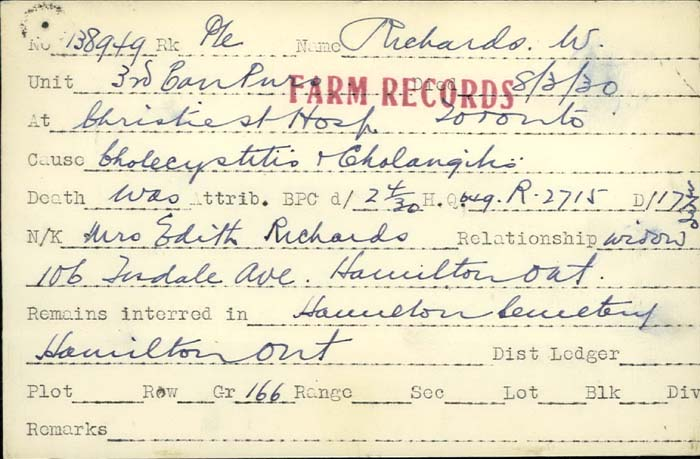 Title: Veterans Death Cards: First World War - Mikan Number: 46114 - Microform: richards_w