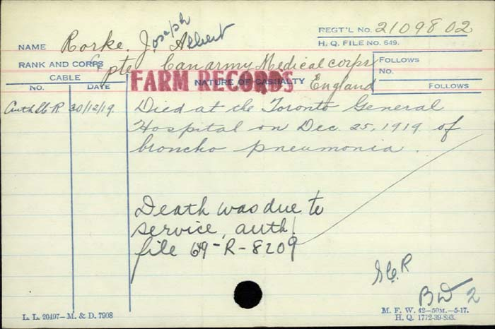Title: Veterans Death Cards: First World War - Mikan Number: 46114 - Microform: robertson_l