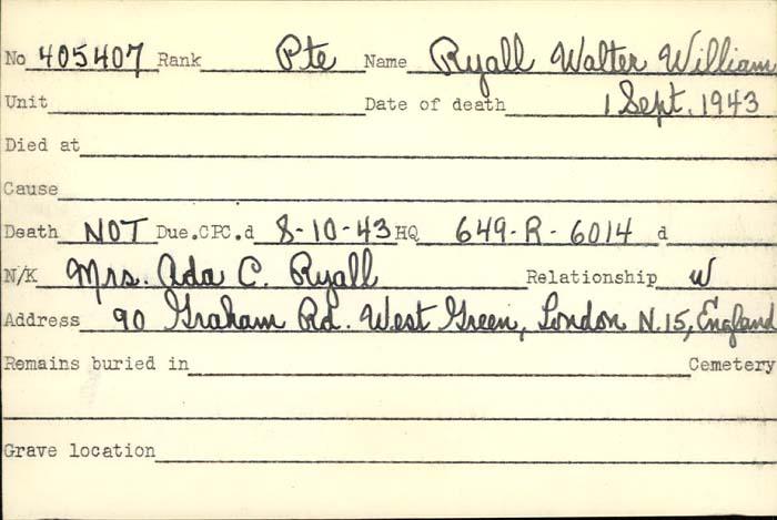 Title: Veterans Death Cards: First World War - Mikan Number: 46114 - Microform: roseback_john