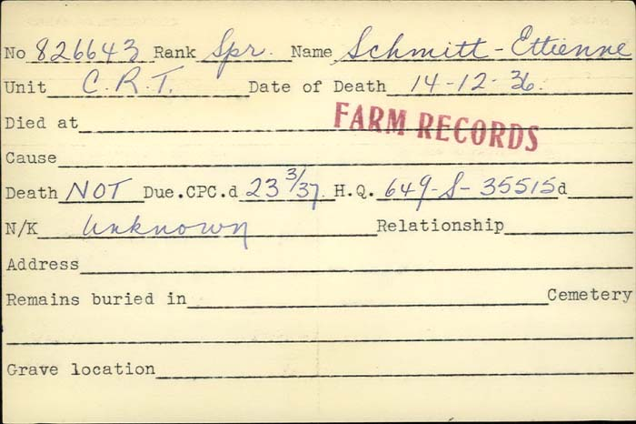 Title: Veterans Death Cards: First World War - Mikan Number: 46114 - Microform: ryan_a