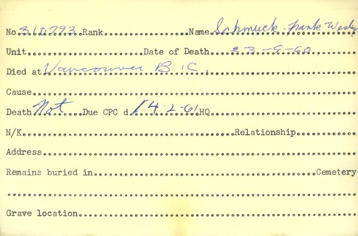 Title: Veterans Death Cards: First World War - Mikan Number: 46114 - Microform: schmuck_f
