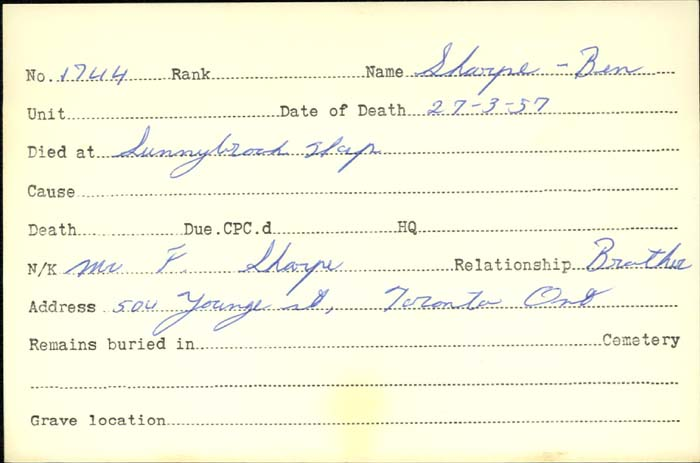 Title: Veterans Death Cards: First World War - Mikan Number: 46114 - Microform: sharpe_b