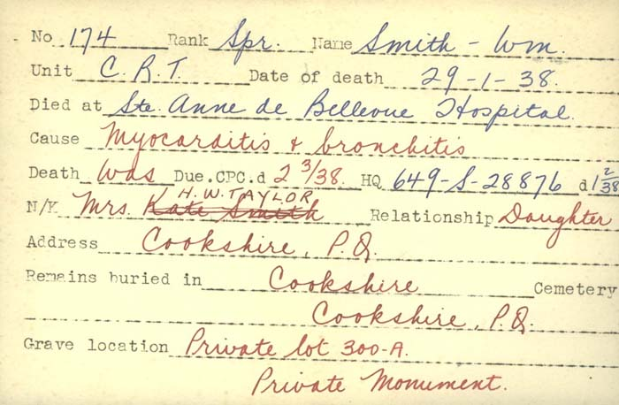 Title: Veterans Death Cards: First World War - Mikan Number: 46114 - Microform: smith_c