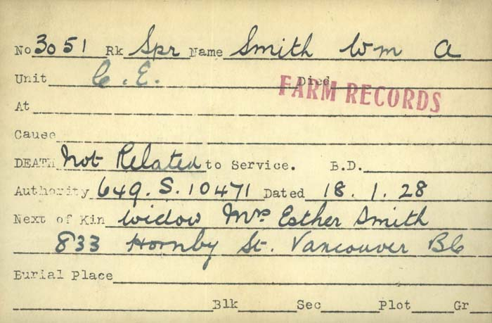Title: Veterans Death Cards: First World War - Mikan Number: 46114 - Microform: smith_william_a