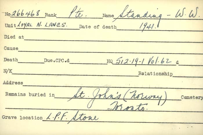 Title: Veterans Death Cards: First World War - Mikan Number: 46114 - Microform: standing_w