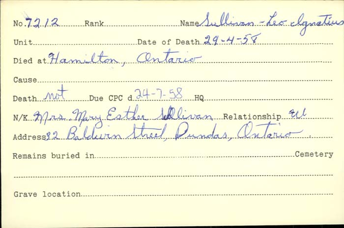 Title: Veterans Death Cards: First World War - Mikan Number: 46114 - Microform: sullivan_l