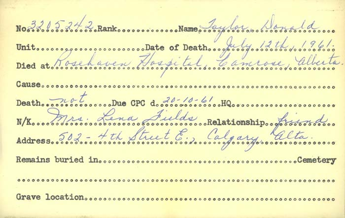 Title: Veterans Death Cards: First World War - Mikan Number: 46114 - Microform: taylor_d