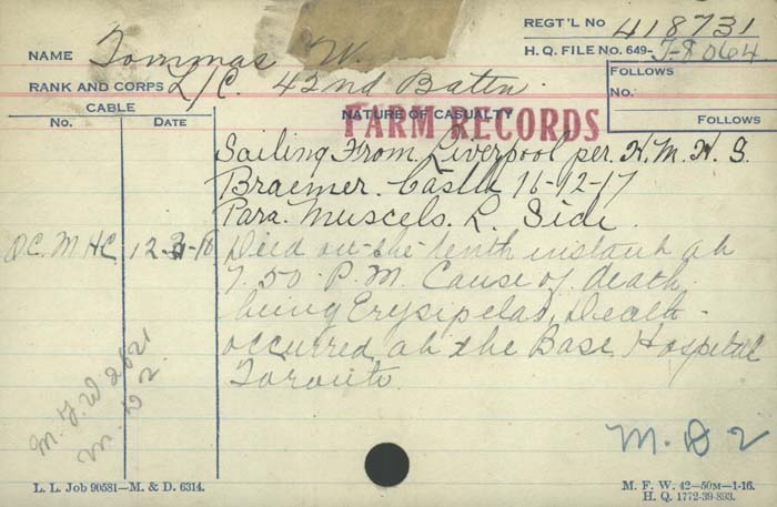 Title: Veterans Death Cards: First World War - Mikan Number: 46114 - Microform: tommas_w