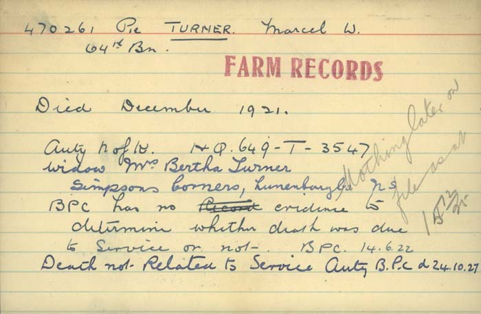 Title: Veterans Death Cards: First World War - Mikan Number: 46114 - Microform: turner_m
