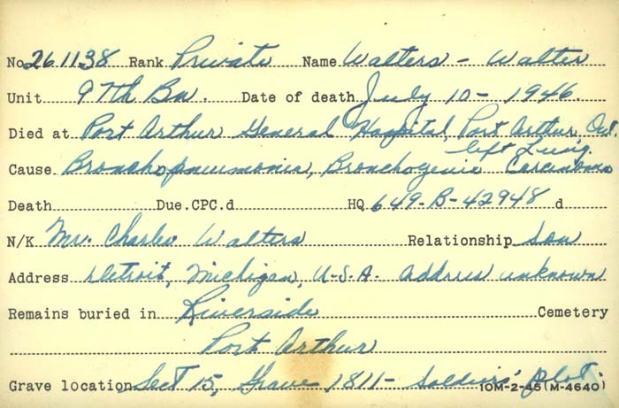 Title: Veterans Death Cards: First World War - Mikan Number: 46114 - Microform: walters_w