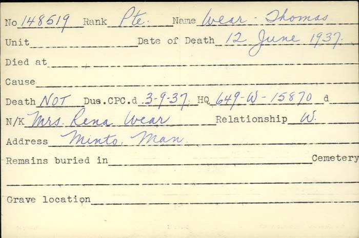 Title: Veterans Death Cards: First World War - Mikan Number: 46114 - Microform: wear_j