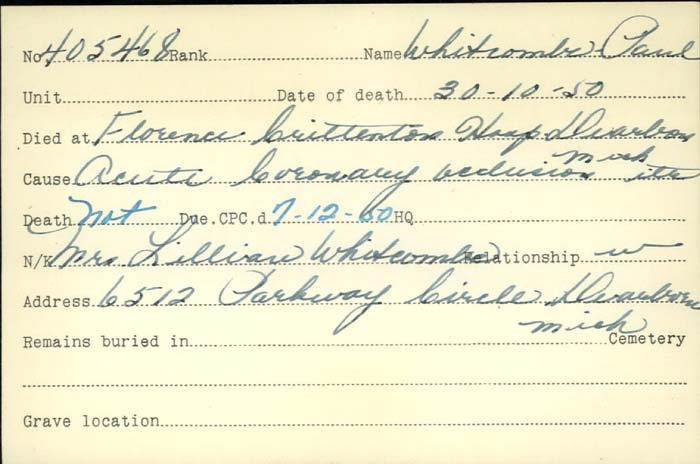 Title: Veterans Death Cards: First World War - Mikan Number: 46114 - Microform: wear_j