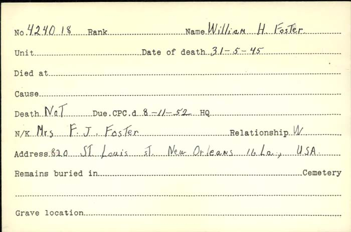 Title: Veterans Death Cards: First World War - Mikan Number: 46114 - Microform: white_a