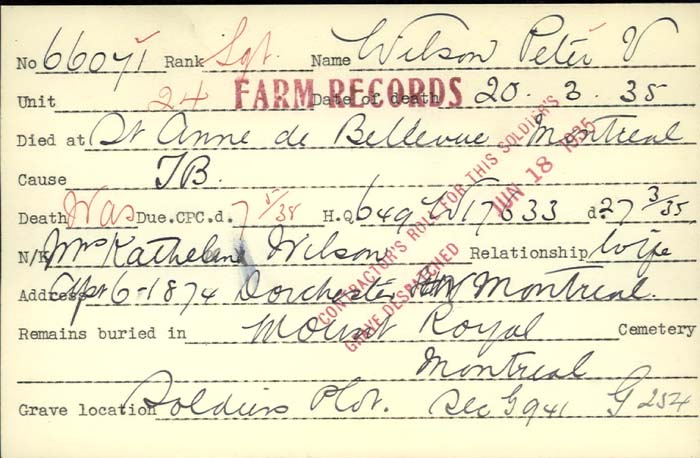 Title: Veterans Death Cards: First World War - Mikan Number: 46114 - Microform: williams_a