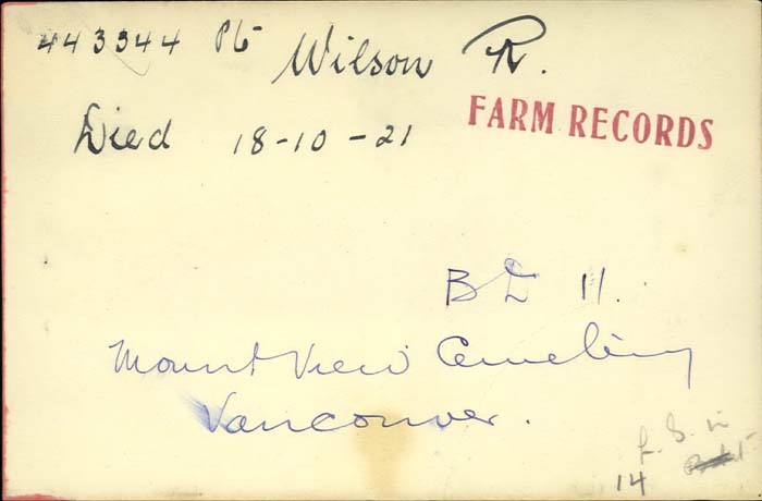 Title: Veterans Death Cards: First World War - Mikan Number: 46114 - Microform: wilson_r