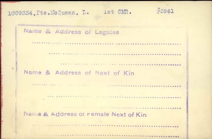 Title: Veterans Death Cards: First World War - Mikan Number: 46114 - Microform: wilson_r