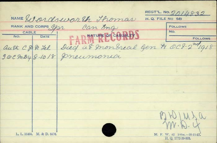 Title: Veterans Death Cards: First World War - Mikan Number: 46114 - Microform: wordsworth_t