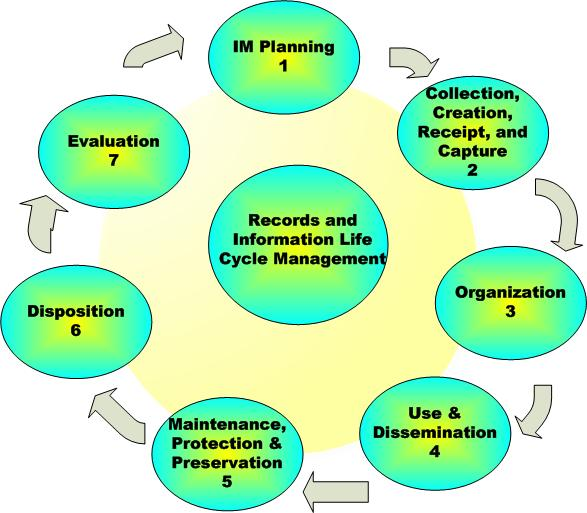 Image of a bubble diagram that shows the 7 stages of the Information Management Life Cycle, in numerical order with Knowledge as the central hub.  1. IM Planning, 2. Collection, Creation, Receipt, and Capture, 3. Organization, 4. Use and Dissemination 5. Maintenance, Protection and Preservation 6. Disposition and 7. Evaluation