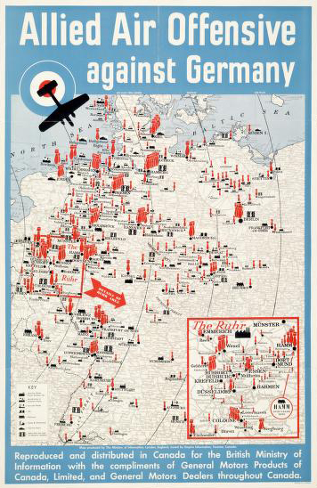Image d'une carte intitulée « Air Offensive against Germany, ca. 1942 »