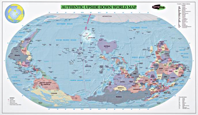 Image d'une carte intitulée « Upside Down World Map, 1999 »
