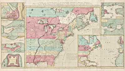 Image of a map entitled The English Empire in North America, 1755