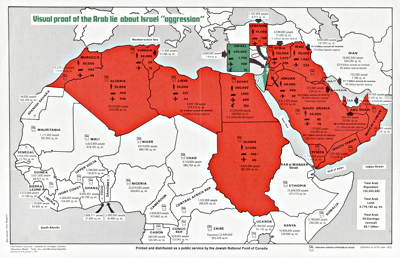 Image d'une carte intitulée « The Arab Lie about Israel, 1973 »
