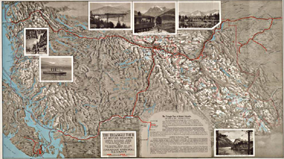 Image d'une carte intitulée « Triangle Tour of British Columbia, ca. 1927 »