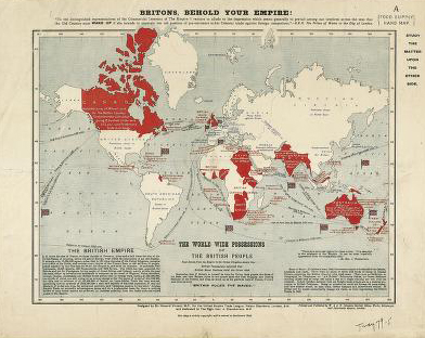Image of a map entitled Britons, Behold Your Empire, ca. 1906