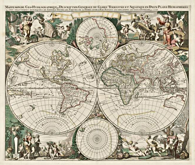 Image of a map entitled Mappe-Monde Geo-Hydrographique, 1686
