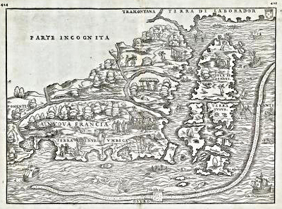 Image of a map entitled La Nuova Francia, 1556