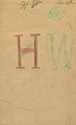 A page personalized by a student with 'HW' in large letters in green and red
