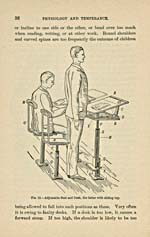 Text on correct posture with an illustration of correct height of seats and school desks, printed in black