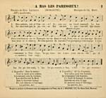 Words and music for 'A bas les paresseux!', printed in black