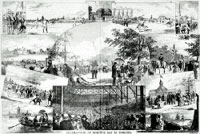 Page from periodical, CANADIAN ILLUSTRATED NEWS, showing a series of illustrations depicting Dominion Day celebrations in Toronto in 1875
