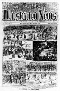 Cover of periodical, CANADIAN ILLUSTRATED NEWS, showing a series of illustrations depicting Dominion Day celebrations in 1880