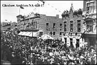 Photograph of a street parade in Calgary, Alberta, ca. 1900-1903