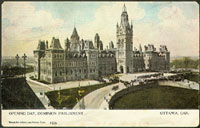 Postcard of the Parliament Buildings in Ottawa, Ontario, made on the opening day of the Dominion Parliament in 1910