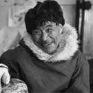 Photograph of an Inuit sculptor in the print shop, Cape Dorset (Kinngait), N.W.T. (now Nunavut), April 1968