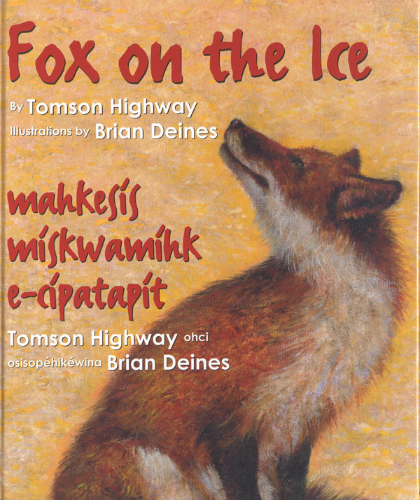 Yellow book cover with a painting of a fox looking upward toward the left