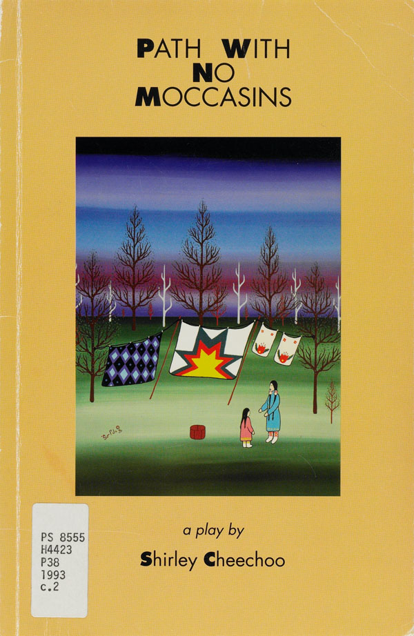 Yellow book cover with an illustration in the centre showing two female figures, a woman and young girl, with blankets hanging on a line attached to two trees in a forest