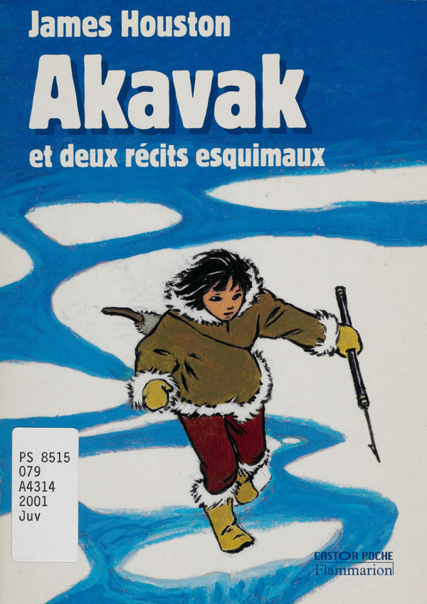 Book cover with an illustration of a young Inuk holding a harpoon, leaping across ice as it breaks up