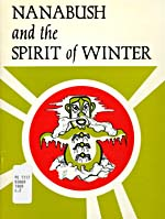 White book cover with a green, black and white illustration of a fearsome human-like creature on a red circular background surrounded by green
