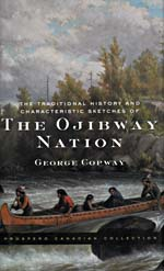Book cover with a painting of five figures travelling through rapids in a canoe, with forest in the background