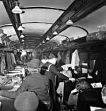 Photo of crowded weekend trains, May 1943