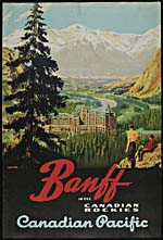 Poster of the Canadian Pacific Railway, 1925, with a colour illustration of the Banff Springs Hotel.