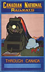 Poster of the Canadian National Railways, 1930, with colour illustration of a train, a cowboy and mountains