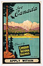 Brochure of the Canadian National Railways, 1924, with colour illustration of people canoeing in the Rockies