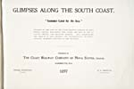 Title page of brochure of the Coast Railway, 1897, advertising Nova Scotia as the SUMMER-LAND BY THE SEA, offering fishing, shooting, rest, recreation and health